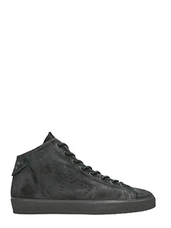 Leather Crown-Sneakers in camoscio nero
