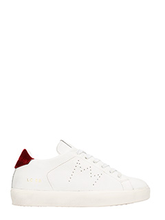 Leather Crown-low lc06 white leather sneakers