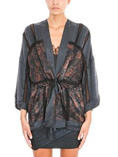 Iro-Kimono Dafoe in seta nera stampa paisley