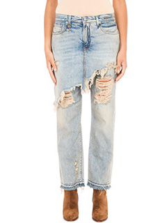 R13-Jeans con gonna in denim celeste sabbia