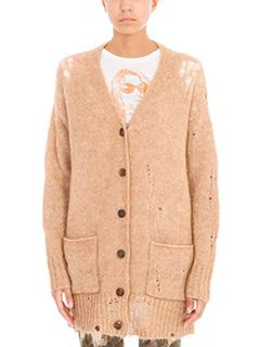 R13-Cardigan in lana e mohair cammello