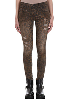 R13-Jeans Kate Skynny in cotone leopard