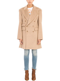 R13-Cappotto Articulated Sleeve Coat in lana cammello
