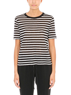 T by Alexander Wang-T-Shirt a righe in lino bianco nero