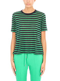 T by Alexander Wang-T-Shirt a righe in lino blue verde