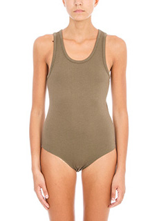 T by Alexander Wang-Body in cotone verde militare