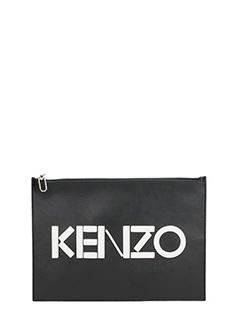 Kenzo-Pochette logo in pelle nera
