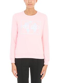 Kenzo-Felpa Logo in cotone rosa