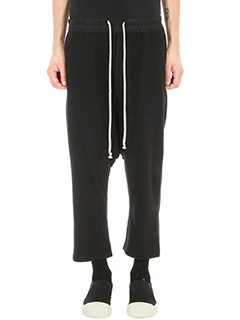 Rick Owens DRKSHDW-Pantalone Cropped in Jersey nero