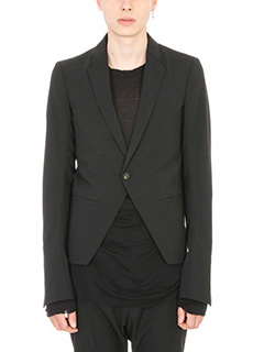 Rick Owens-Giacca Open Front in lana nera