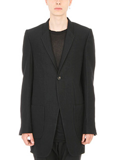 Rick Owens-Cappotto Single-Breasted in lana nera