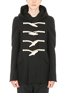 Rick Owens-black cotton and wool-blend Rope Toggle duffle coat