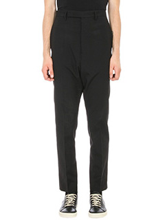 Rick Owens-Pantalone Drop-Crotch in lana nera