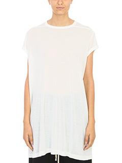 Rick Owens-T-Shirt in viscosa bianca