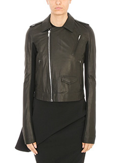 Rick Owens-Giacca Classic Stooges in pelle nera