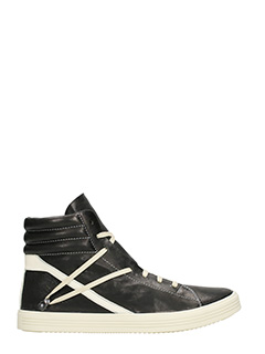 Rick Owens-Thrasher black leather sneakers