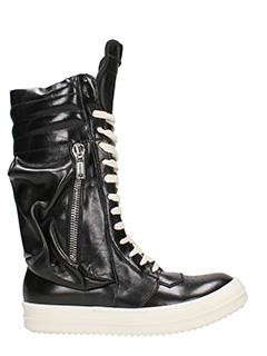 Rick Owens-Sneakers Cargo Basket Boots in pelle nera