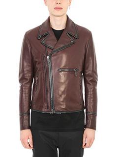 Lanvin-Leather burgundy Biker Jacket