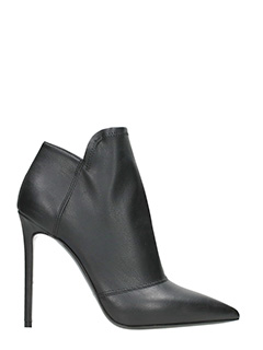 Grey Mer-Black leather Ankle boots