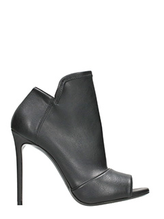 Grey Mer-Black leather Anle boots