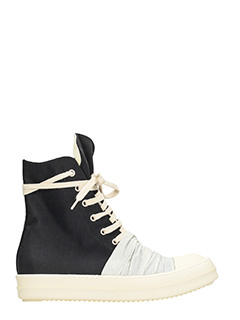 Rick Owens DRKSHDW-Vegan black fabric hi sneakers