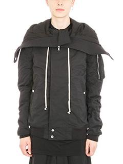 Rick Owens DRKSHDW-Glitter hooded bomber short jacket