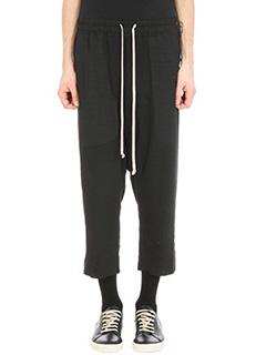 Rick Owens-Pantalone Drawstring Cropped in lana e seta nera