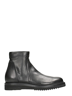 Rick Owens-Creeper black leather Boots