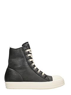 Rick Owens-Sneakers Hi Top in pelle nera