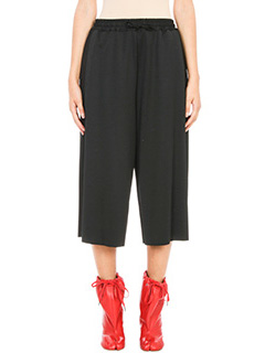 Maison Margiela-Black cropped wide leg trousers