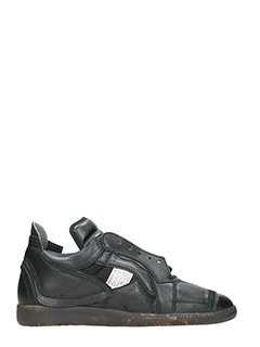 Maison Margiela-Patchwork black leather sneakers