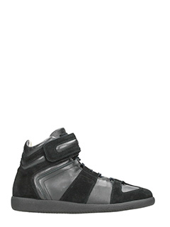 Maison Margiela-black leather and suede hi sneakers