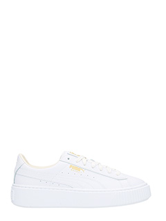 Puma-Basket Platform white leather sneakers