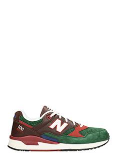 New Balance-Sneakers 530 in pelle e camoscio bordeaux verde
