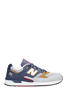 New Balance-Sneakers 530 in pelle e camoscio blue grigio