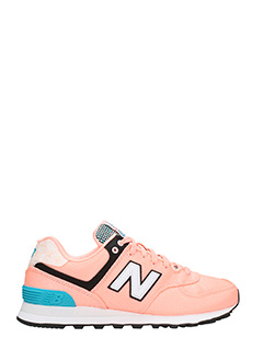 New Balance-Sneakers 574 in suede e tessuto rosa