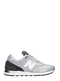New Balance-Sneakers 574 in pelle argento nero