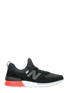New Balance-ASneakers MS574D AB in pelle e camoscio nero