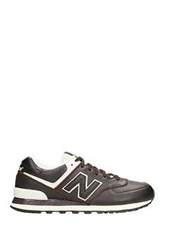 New Balance-Sneakers 574 in pelle marrone