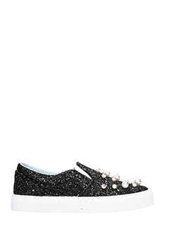 Chiara Ferragni-Black Glitter Candy Slip On