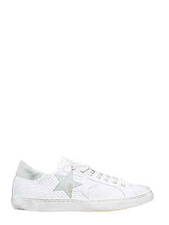 Two Star-white perforated leather low sneakers