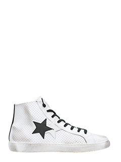 Two Star-White perforated leather   sneakers