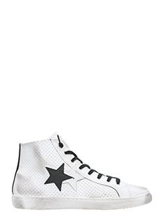 Two Star-Sneakers in pelle traforata bianca