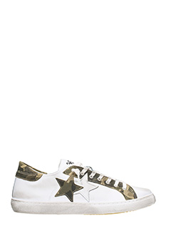 Two Star-Low Star White leather sneakers
