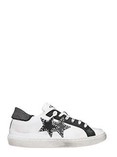 Two Star-white and black leather low sneakers