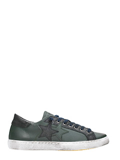 Two Star-Low Star green leather   sneakers
