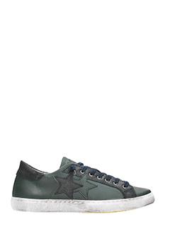 Two Star-Sneakers Low Star in pelle verde
