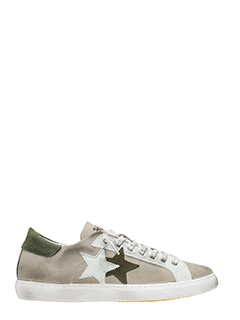 Two Star-Low Star  taupe suede leather   sneakers