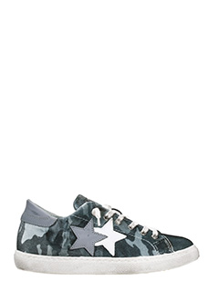 Two Star-grey velvet camouflage low sneakers