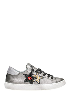 Two Star-red lips silver leather low sneakers